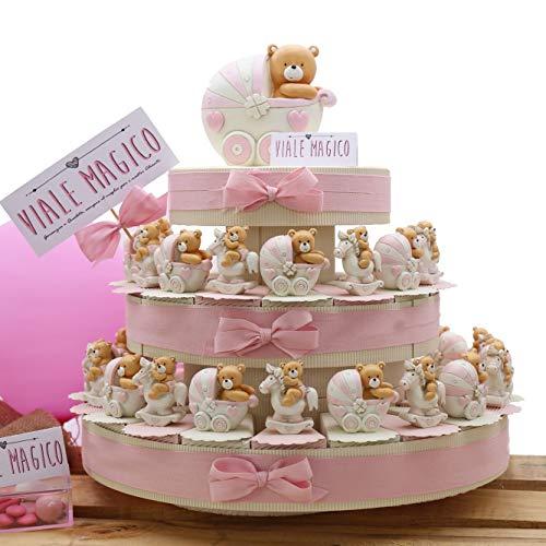 Vialemagico bomboniere torta nascita orsetto con carrozzina e pony bimba statuina 35 fettine