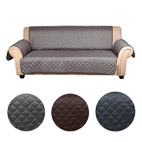 Auralum wasserfest Sesselschoner Anti-Rutsch Schonbezug mit Armlehnen Doppelseitig Sesselauflage Sesselschutz 3 sitzer Sofa Matte für Hunde/ Katzen 177cm*56cm (dunkel grau/ hell grau)