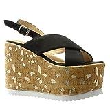 Angkorly - Damen Schuhe Sandalen Mule - Plateauschuhe - Kork - Fantasy - golden Keilabsatz high Heel 12.5 cm - Schwarz PN1559 T 36