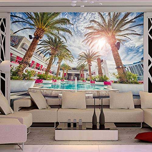 Ponana Benutzerdefinierte Fototapete 3D Strand Kokospalme Pool Wandbilder Wohnzimmer Thema Hotel Hintergrund Tapeten-400X280Cm