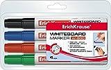 Erich Krause Whiteboard-Marker, trocken und rückstandsfrei abwischbar , Spitze ca. 0,8-2,5 mm Linienbreite, Marken Qualität, Set mit 4 unterschiedlichen Farben