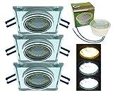 Trango 3er Pack Design handgschliffenem Glas & Alu LED Einbaustrahler incl. 3x Farbtemperatur steuerbar LED Modul 3000K/4000K/6000K LED Modul nur 3cm Einbautiefe Bad Dusche Trango TG6729S3/6K-03
