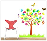 PeiTrade Children's Room Rainbow Color Cartoon Tree Butterfly Wall Sticker Art Decal Home Room Decor Office Wall Mural Wallpaper Art Sticker Decal Paper Mural for Home Bedroom