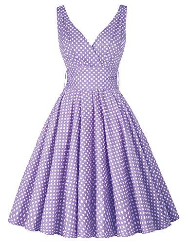 Damen Einfach V-Ausschnitt Swing-Kleid Lila Sexy Ballkleid Rockabilly kleid Größe L CL6295-7