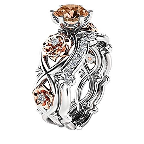 Neue Damenmode zwei Ton Engagement Floral Ring Set YunYoud dünne hochzeitsringe silberring groß feine schwarzem partnerringe vergoldete herz steinringe glasringe edelstahlring