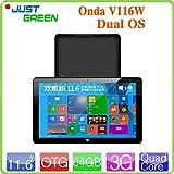 ARBUYSHOP 11.6 '1920x1080 IPS Onda V116W Tablet PC 3G dual boot In tel Z3736F Quad Core 2GB 32 / 64GB 5MP Telefonata HDMI OTG Android6in8,32GB OS doppio