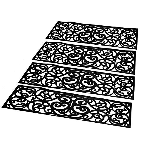 Set mit 4 Gummitreppenstufen | Innen & Außen Fußmatten | Rutschfeste FußmattenSet | Schmiedeeisen Design Matte | Antirutschmatten | M&W