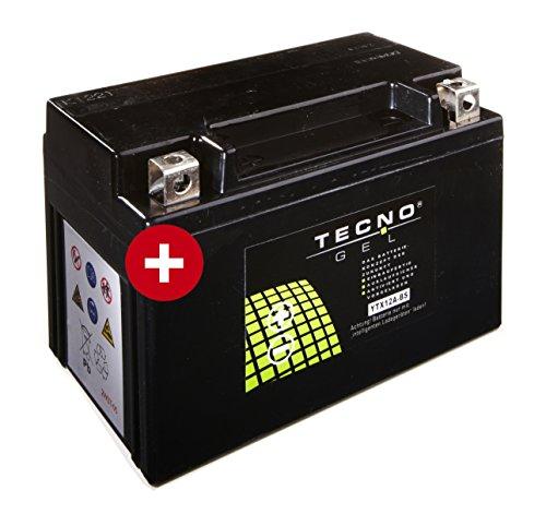 TECNO-GEL Motorrad-Batterie YT12A-BS für Honda, KTM, Kymco etc, 12V Gel-Batterie 12 Ah, 151x87 x 105 mm