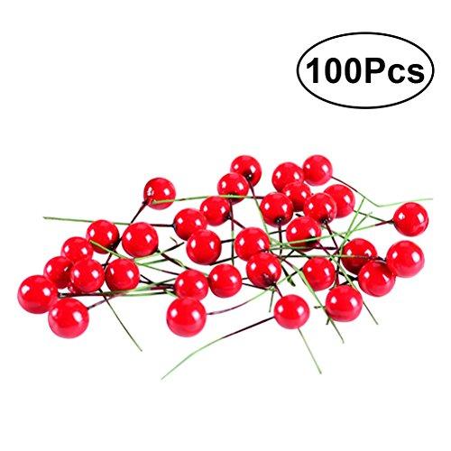 Winomo 100pcs bacche artificiali di simulazione del fiore frutta per natale domestico decorativo (rosso)