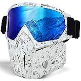 LAMEDA Maschera da Motorino Occhiali da sci Lenti Sferiche Anti-appanamento UV400 Antivento Ben-protteto(GOCCE D'AQCUA)