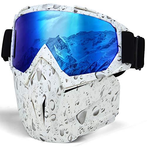 LAMEDA Masques de Lunettes Moto Lunette de Ski Antibuée pour Motocross Motoneige Snowboard Casque à Visage Coupe-VentAnti-UV(Cadre Blanc+ Verre Bleu)