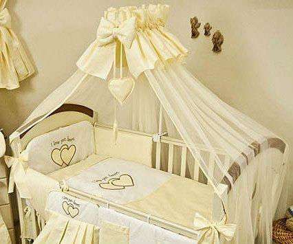 Bettwäsche-Set für Babys, 8-teilig, inkl. Bettumrandung, Bettwäsche-Set, Netz für Babybett und Netz-Halterung, Design: Love You Heart, erhältlich in 120 x 60 cm oder 140 x 70 cm