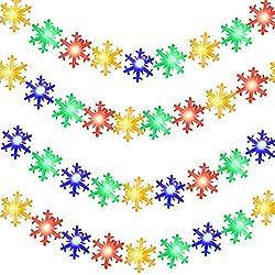 Schneeflocke Schnur beleuchtet 50 LED 16,4 Fuß batteriebetriebene im Freienschneeflocke Baum Lichter für Weihnachtsfest Bevorzugung Innenaußenfenster Patio Rasen Garten Party, Mehrfarben