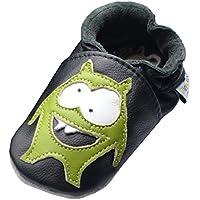 Jinwood - monster black - mini shoes - Monster - Hausschuhe - Lederpuschen - Krabbelschuhe - by amsomo