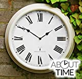 "Perfect Time Radio Controlled Outdoor Garden Wall Clock - Antique White - 38cm (15"") by About Time"