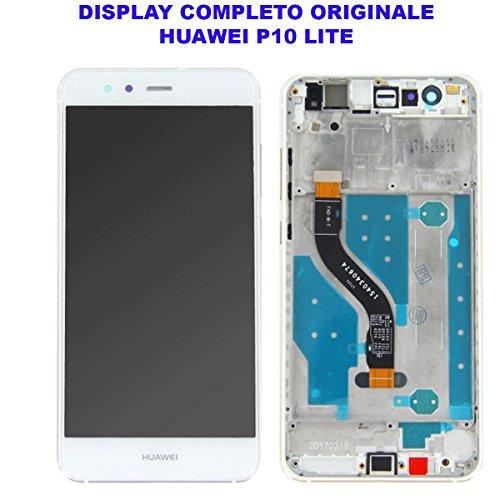 Vetro Schermo Display LCD Touch Screen Huawei P10 LITE BIANCO WHITE Completo Cornice Telaio Frame WAS-LX1 LX1A