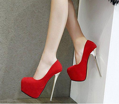 Gtvernh-rouge Super Haut Talon Seulement Chaussures 16cm Semelle Superficielle Chaussure Étanche Nuit Boutique Sandales Sexy Talon Belles Chaussures, Trente Huit Trente-huit