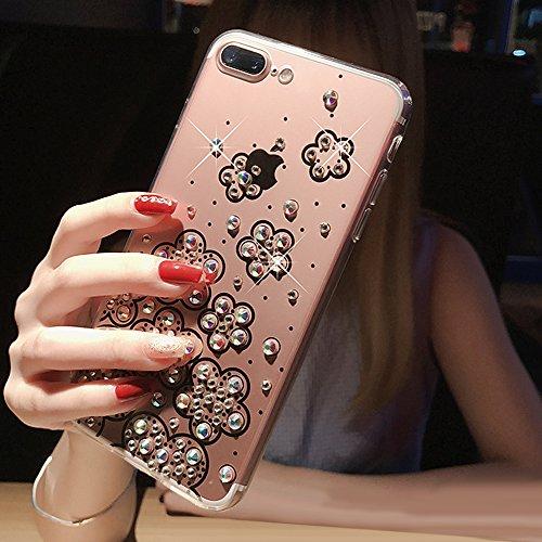 Custodia iPhone 6 Plus Glitter, iPhone 6S Plus Cover Silicone, SainCat Cover per iPhone 6/6S Plus Custodia Silicone Morbido, Custodia Bling Glitter Strass Diamante Silicone 3D Design Ultra Slim Silico Fiori Trasparenti