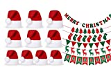 10 Mini-Deko-Weihnachtsmützen Set mit Weihnachtsbanner Flaggen Eierwärmer Mütze mit Bommel Weihnachtsdeko, 11 cm hoch