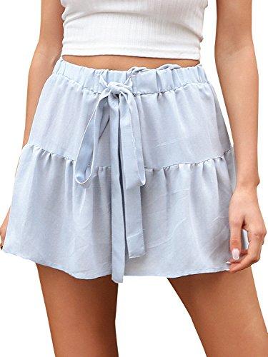 Terryfy Damen Sommer Shorts Ruffle Vintage Linen Baumwoll High Waist Strand Kurze Hose Blau