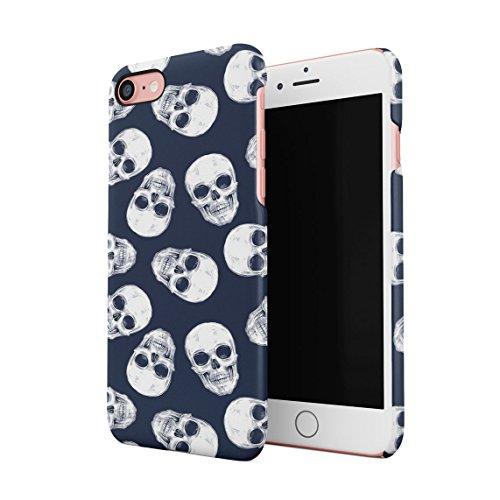Grunge Gothic Skeleton Punk Mini Dead Human Skulls Pattern Dünne Rückschale aus Hartplastik für iPhone 7 & iPhone 8 Handy Hülle Schutzhülle Slim Fit Case Cover