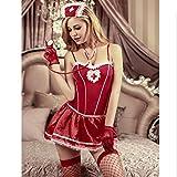 ERGE-HUSHI, Costume da Infermiera Sexy for Donna Costumi erotici di Halloween Infermiera Giochi di Ruolo Porno Babydoll Intimo Chemise Lingerie (Colore : Rosso, Taglia : One Size)