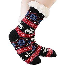 JARSEEN Mujer Hombre Navidad Calcetines Invierno Calentar Pantuflas de Estar Por Casa Super Suaves Cómodos Calcetines Antideslizante (Ciervo Negro, EU 36-42)
