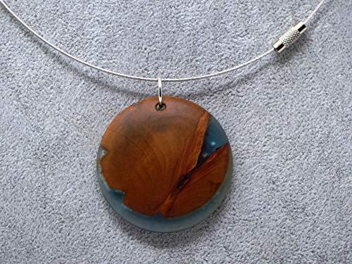 Woodenarts Kette aus Edelstahl mit Holzanhänger aus Apfel mit Epoxid blau eingefärbt veredelt Länge Kette ca. 46 Zentimeter Anhänger Durchmesser ca. 4,5 cm