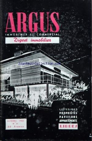 ARGUS IMMOBILIER ET COMMERCIAL (L') [No 61] du 01/10/1958 - liste des appartements et proprietes a vendre libres a paris et sa banlieue par Collectif