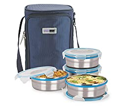 Steel Lock Leak Proof Stainless Steel Tiffin Box With Insulated bag, 4 pc Set, Assorted color