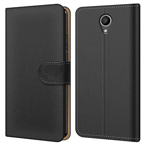 Conie BW42667 Basic Wallet Kompatibel mit Wiko Getaway, Booklet PU Leder Hülle Tasche mit Kartenfächer & Aufstellfunktion für Getaway Case Schwarz