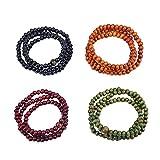 4Stück Buddha Meditation HOLZ 108/216Perlen buddhistisch, Mala-Perlen Armband buddhistische Halskette mit chinesischer Buddha, holz, 108 6mm Wood Beads, 52 cm