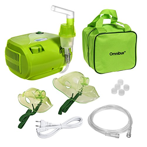 Omnibus BR-CN116B Inhaliergerät Inhalator Aerosol Therapie Vernebler Inhalation Kompressor (Grün - mit Grüne Tasche) -