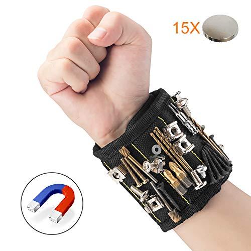 JTENG Magnetische Armbänder, Magnetarmband mit 15 leistungsstarken Magneten Magnet Armbänder verstellbares Klettband zum Halten von Werkzeugen, Schrauben, Nägel, Bohren Bits und Kleinwerkzeuge