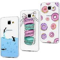 3x Funda para Samsung Galaxy A5 2016, Carcasa Silicona Gel Case Ultra Delgado TPU Goma Flexible [Proceso IMD] No se descolora Anti-scrach Cover para Samsung Galaxy A5 2016 - Pingüino Donuts Macaron
