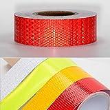 QEUhang Warntafel Rot Streifen 45M x 5 cm Reflektierende Reflektor Aufkleber Reflektorband Reflexfolie Selbstklebend