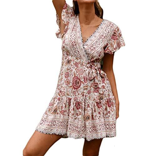 CAOQAO Elegant Damen Ballkleid Hochzeitskleid Festlich Dressurgerte Sexy Casual Hohe Taille BöHmen Print V Ausschnitt National Style Midi Kleid