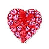 SODIAL(R) 24pzs Jabon de bano perfumado rojo Petalo de rosa en caja del corazon