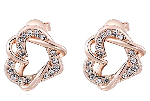 ROXI - Orecchini da donna a bottone, a forma di cuore, con cristalli, placcati oro (Cuore Rosa Orecchini)