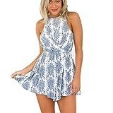 MRULIC Frauen Casual Print Camis Backless Jumpsuit Strap Hemd Neckholder(Blau,EU-38/CN-M)