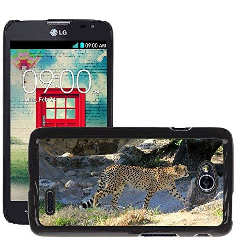 Just Phone Cases Bild Hart Handy Schwarz Schutz Case Cover Schale Etui // M00128864 Cheetah African Predator Gehen // LG Optimus L70 MS323 (Gehen Cheetah)