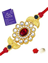 Sukkhi Sleek Gold Plated Floral Rakhi for brother with Roli Chawal and Raksha Bandhan Greeting Card For Men