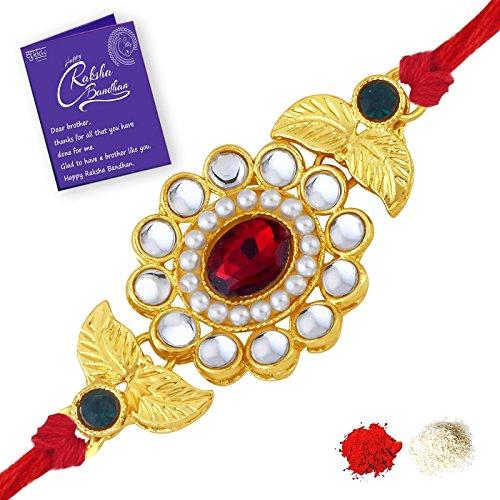 Sukkhi Sleek Gold Plated Floral Rakhi for Brother with Roli Chawal and Raksha Bandhan Greeting Card for Men