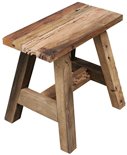 """LioLiving, """"West"""" solid wooden stool made from recycled teak (#400156)"""