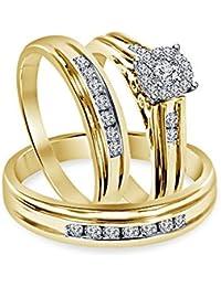 Silvernshine 1.30 Ct Diamond Engagement Ring Wedding Trio Set In Solid 14k Yellow Gold Fn 925
