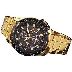 Black Bezel mens steel watches kwock® Watch with Golden Stainless Steel Quartz Watch, Luxury Sporty 2016 (