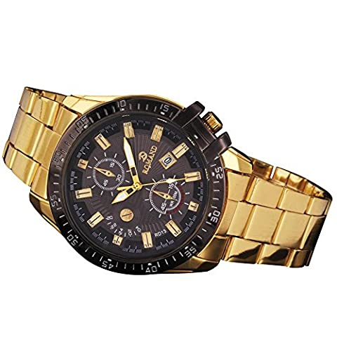 Herren-Armbanduhr Automatik Quarz Edelstahl Gold schwarz Lünette Herren-Uhr by kwock
