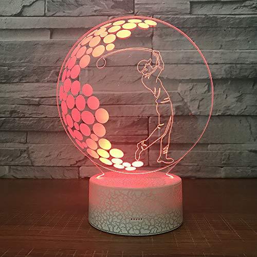 3D Illusione Ottica Led Lampada di Illuminazione Luce Notturna 7 Colori con Acrilico USB Batteria Notturna Touch Control Crack Base Golf Controllo Remoto