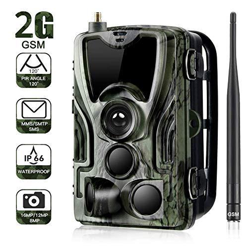2g fotocamera da caccia mms 1080p 16mp, fototrappola infrarossi fotografica, 940nm ir leds macchine fotografiche da caccia visione notturna 65ft impermeabile ip65, include scheda sd e batteria solare