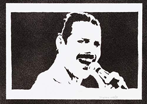 Póster Freddie Mercury Queen Grafiti Hecho A Mano - Handmade...